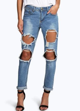 Рваные джинсы бойфренды лимитированная коллекция размера xl