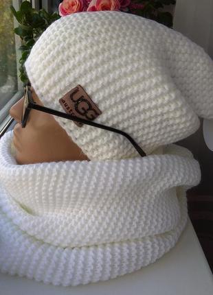 Новый модный комплект: шапка чулок (на флисе) и хомут 2 оборота, белый