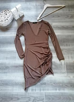 Сексуальное платье асимметрия с декольте длинный рукав клубна сукня