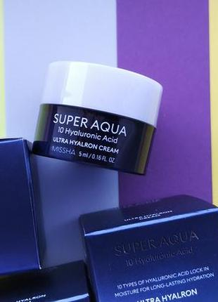 Крем с 10 видами гиалуроновой кислоты missha super aqua ultra hyalron cream 5 мл