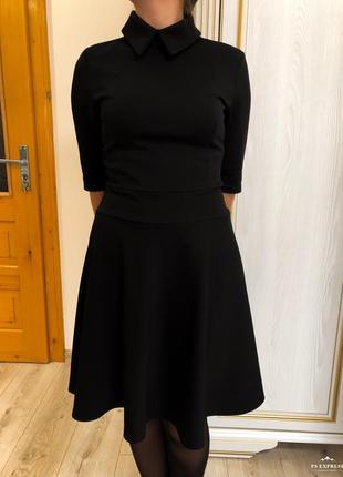 Чёрное платье zara офисное платье imperial платье с воротником классическое черное платье