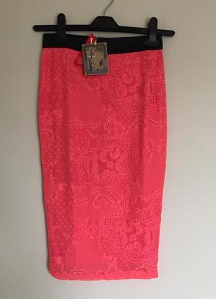 Кружевная новая юбка love label коралловая карандаш, спідниця