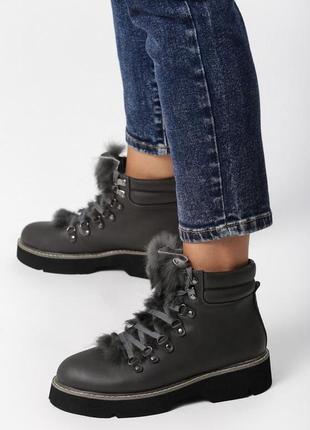 Новые шикарные женские зимние серые ботинки