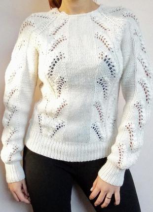 Зимовий светр з мереживом/ теплый свитер ажурными вставками/