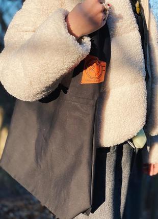 Эко сумка шоппер торба @don.bacon чёрная большая с оранжевой нашивкой чашка кофе латте арт