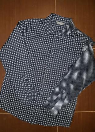 Синяя рубашка с принтом primark коттон