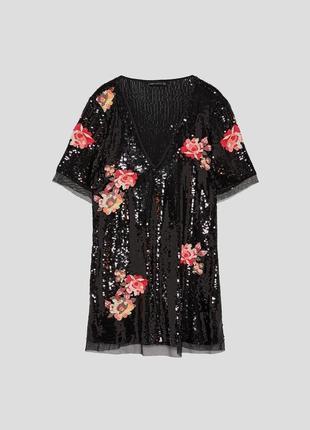 Мега красивое платье в паетки с вышивкой zara