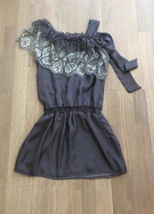 Серое китайское шёлковое платье туника с кружевом. размер 36 или 38
