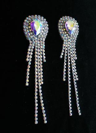 Серьги медузы длинные из страз семицветка хамелеон