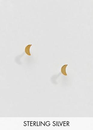 1+1=3 до 30/12 серебряные позолоченные серьги-гвоздики kingsley ryan из каталога asos