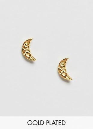1+1=3 до 30/12 серьги-гвоздики из позолоченного серебра kingsley ryan из каталога asos