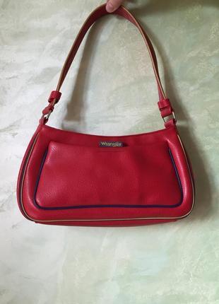 Стильная сумка багет wrangler красного цвета, оригинал,качественная