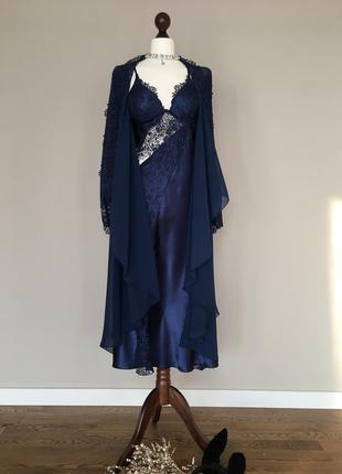 Шелковый кружевной  комплект пеньюар халат бренд  batista lingerie