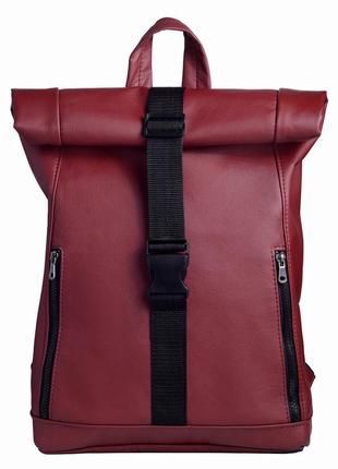 Женский бордовый рюкзак-ролл для путешествий
