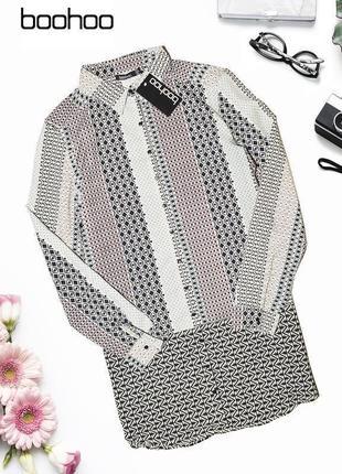 Платье-рубашка в геометрический узор boohoo