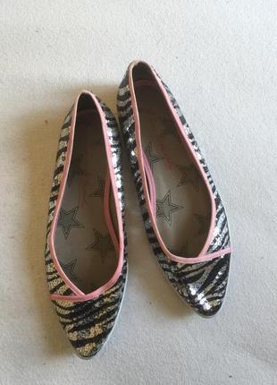 Туфли балетки женские с паетками