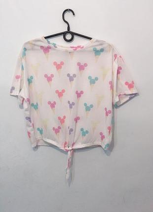 Стильный оверсайз топ футболка disney на завязках.