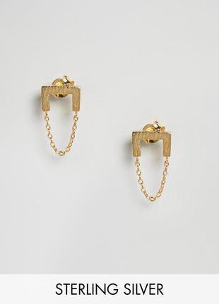 1+1=3 до 30/12 позолоченные серебряные серьги-подвески с цепочками asos сережки