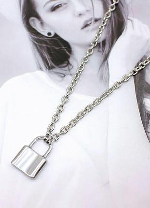 Креативная подвеска кулон серебряный замок из нержавеющей стали