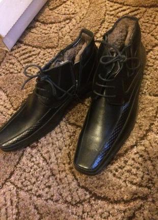 Мужские подростковые кожаные ботинки зимние туфли
