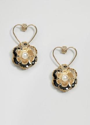 1+1=3 до 30/12 серьги ограниченной серии с контурным сердцем и цветком asos