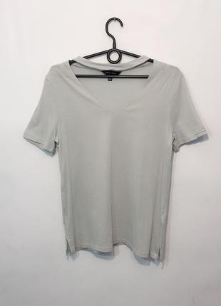 Стильная мятная футболка с чокером. 10/38/m