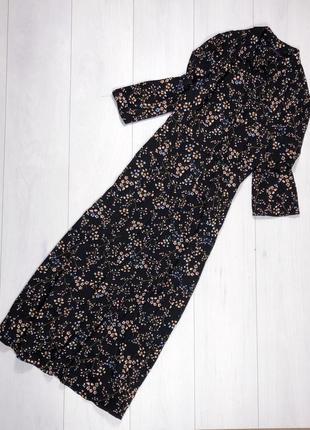 Платье в цветы на пуговках длинное