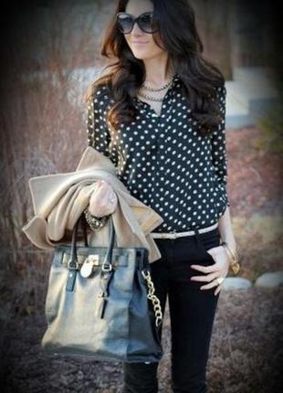 Черная в горох/горошек блуза рубашка свободная коттон/шелк от zara португалия