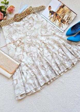 Новая кремовая пышная миди юбка с золотистым ремешком per una