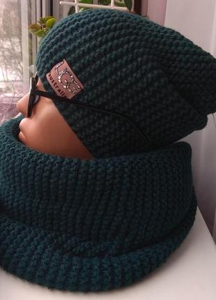 Новый комплект: хомут и шапка чулок (на флисе), темно-зеленый