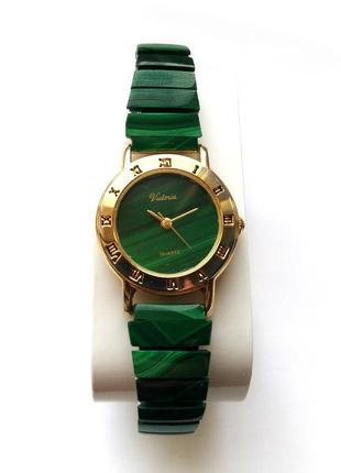 Victoria малахитовые часы из сша механизм japan morioka tokei