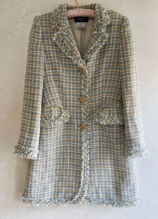 Твидовое пальто, тренч винтаж chanel с номером