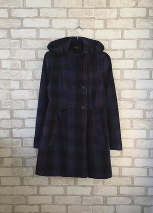 Классное шерстяное пальто в клеточку h&m