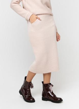 Шикарная теплая юбка прямого силуэта с разрезом на задней полочке и на подкладке(др.цвета)