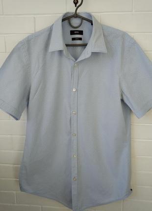 Мужская рубашка hugo boss с коротким рукавом slim fit размер m