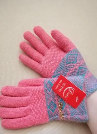 Перчатки зимние бледно-коралловые