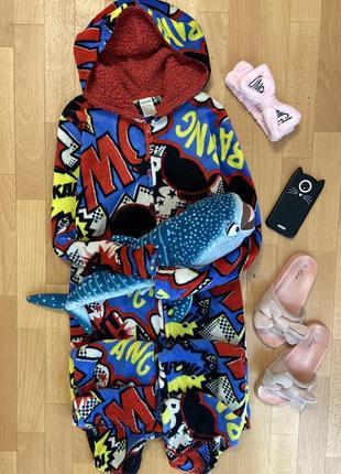 Тёплая плотная флисовая пижама кигуруми слип комбинезон