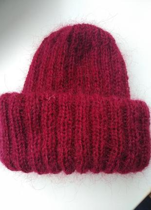 Мохеровая шапка марсала такори шапка с подворотом пушистая шапочка