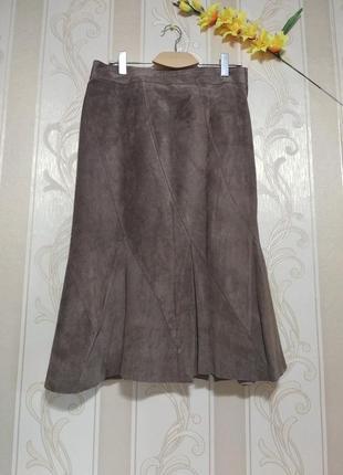 Натуральная длинная мягкая замшевая юбка на подкладке, h&m