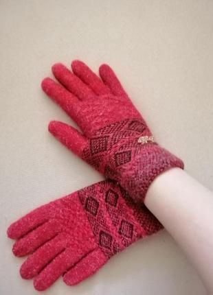 Перчатки зимние терракотовые
