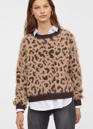 H&m пушистый джемпер в леопардовый принт