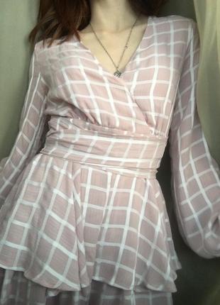 Ромпер с рукавами в клетку (комбинезон-платье)