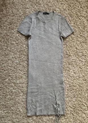 Bershka серое платье в рубчик со шнуровкой s - размер