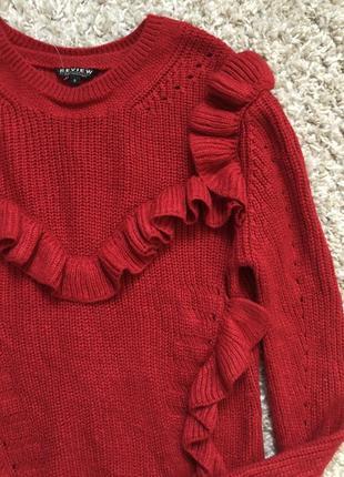 Review красный пуловер с рюшами s- m размер