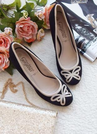 Изящные туфли с контрастной отделкой и бантиком-бабочкой new look