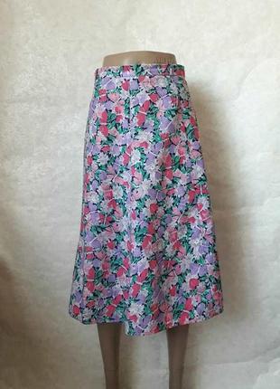 Новая нарядная юбка миди с завышенной талией в яркий цветочный принт, размер с-ка
