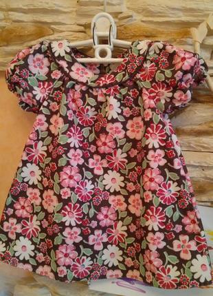Нарядное вельветовое платье сарафан на 2-3 года