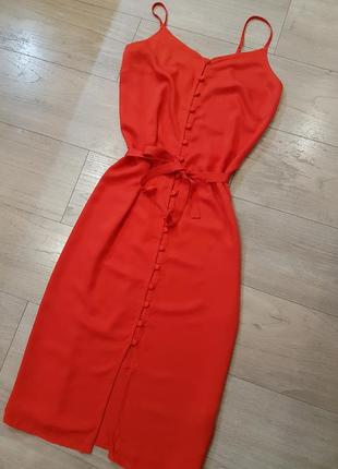 Миди платье сарафан на пуговицах