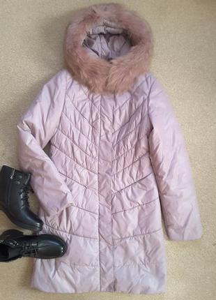 Зимняя курточка цвета пудры.