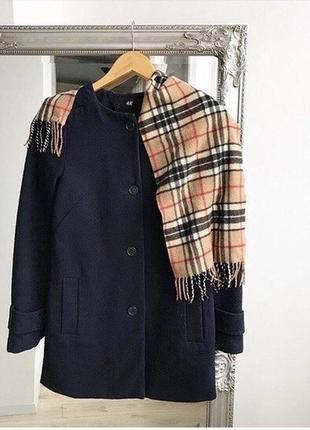 Женское шерстяное прямое пальто темно-синего цвета демисезонное осеннее весеннее